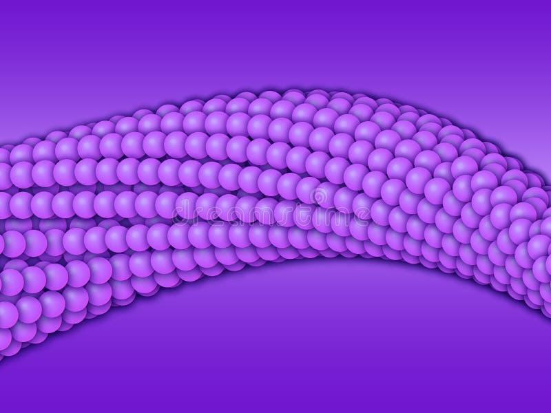 Kettingen van violette gebieden met zachte schaduwen op de violette achtergrond Abstracte geometrisch Eiwitketting stock illustratie