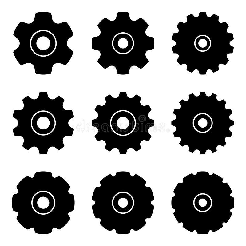 Kettingwiel voor transportband De delen van de machine Silhouet vectorpictogrammen stock illustratie