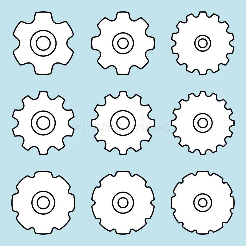 Kettingwiel voor transportband De delen van de machine Vlakke vectorpictogrammen royalty-vrije illustratie