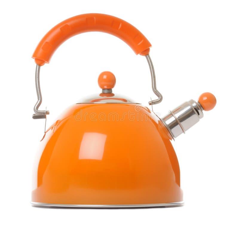 Kettle. Orange kettle on white background stock photography