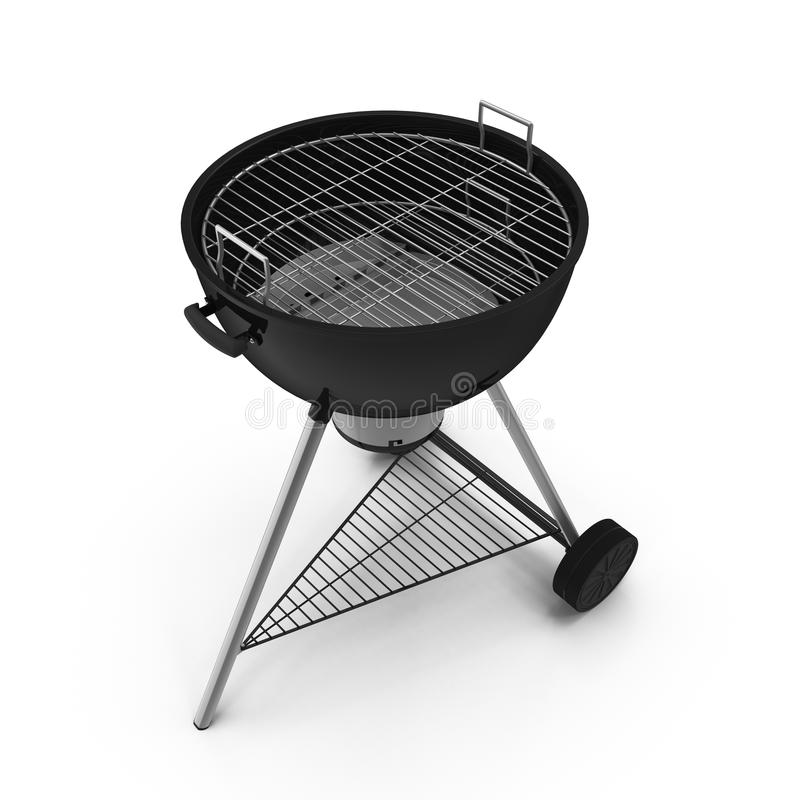Kettle barbecue grill with cover isolated on white. Kettle barbecue grill with cover isolated on white background royalty free stock images