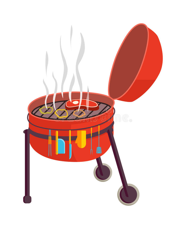 Kettle barbecue grill vector illustration. royalty free illustration