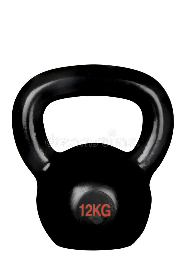 Kettle bell. An isolated black kettle bell on a white background shows a unique piece of heavy exercise equipment stock images