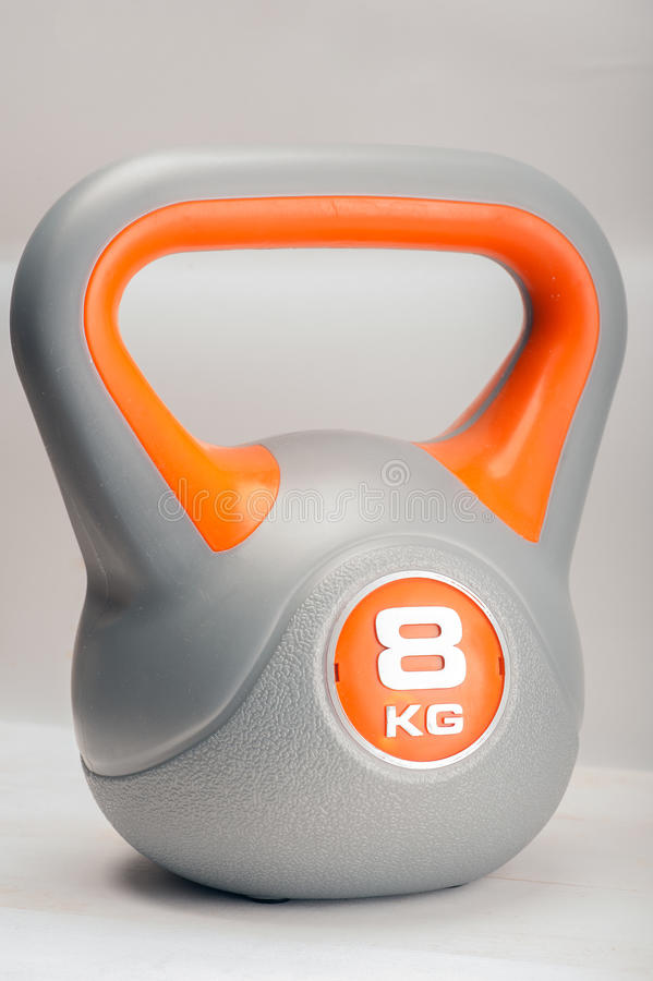 Kettle Bell. Close up of a 8 kilogram kettle bell royalty free stock photos