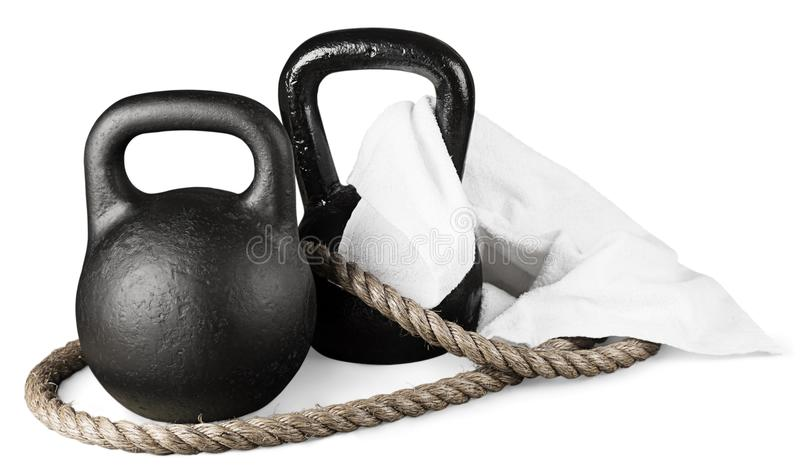 Kettle Bell. Exercising Sport Weights Sports Training Gym Rope royalty free stock photos