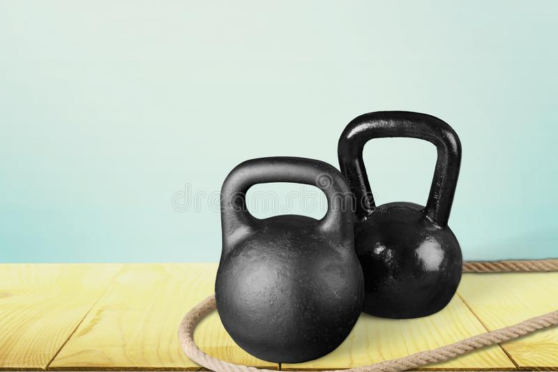 Kettle bell. Exercising sport weights sports training gym rope stock image