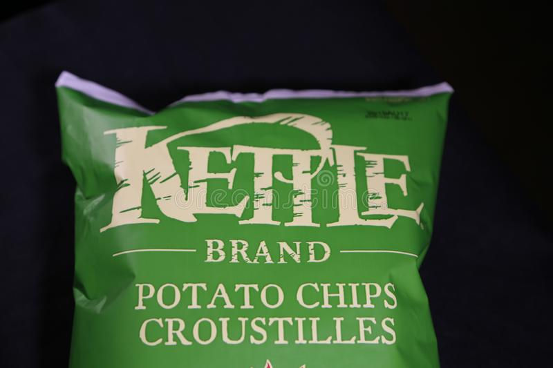 KETTLE BRAND-Potatoe chips. Potatoe chips are a famous snack in North America and the best kind are the Kettle baked chips! If you don`t like chips, you will if stock images