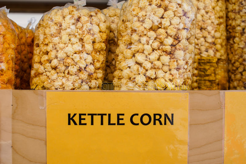 Kettle corn. In plastic bags royalty free stock photo