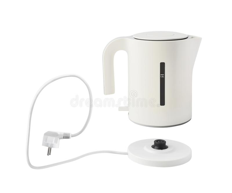 Kettle with electric cord isolated royalty free stock photo
