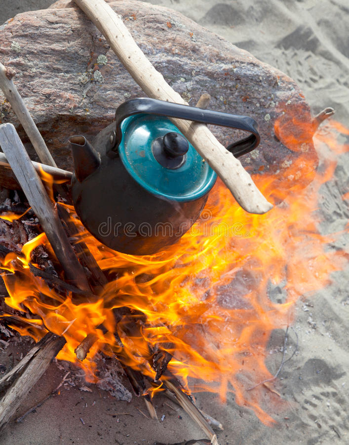 Download Kettle on the fire stock image. Image of obsolete, firewood - 19365219