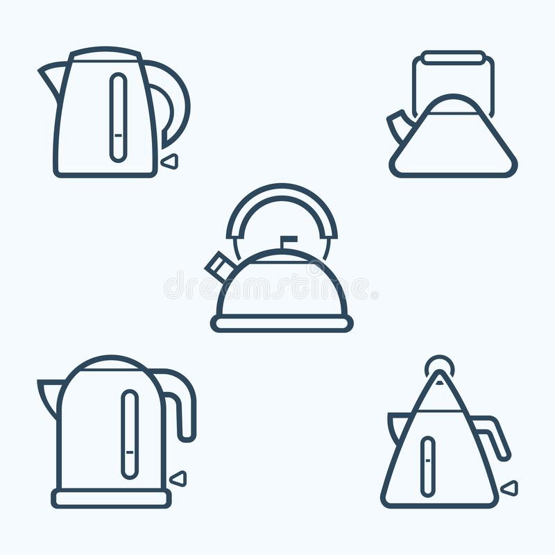 Kettle icon set, vector symbol. royalty free illustration