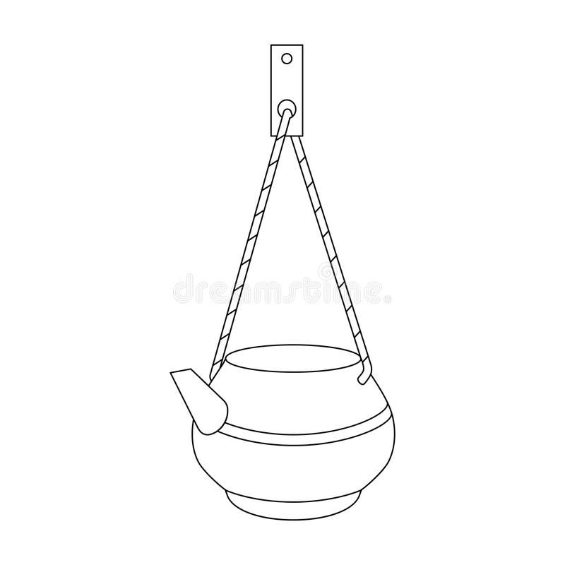 Kettle on a rope for washing. Vector line art kettle on a rope for washing. Hand-drawn illustration on white. Can be used for graphic design, textile design or vector illustration
