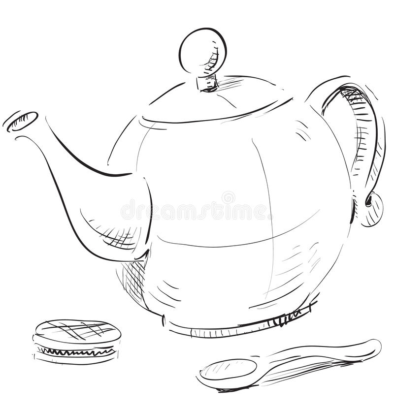 Download Kettle, spoon and biscuit stock illustration. Illustration of objects - 33306026
