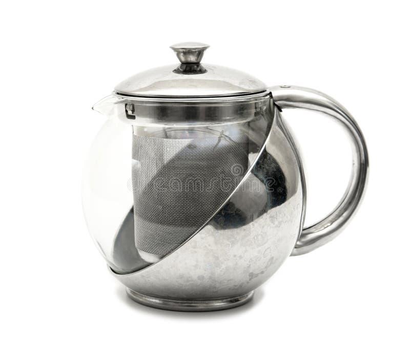 Kettle tea on white background. Modern stainless tea pot isolated royalty free stock photo