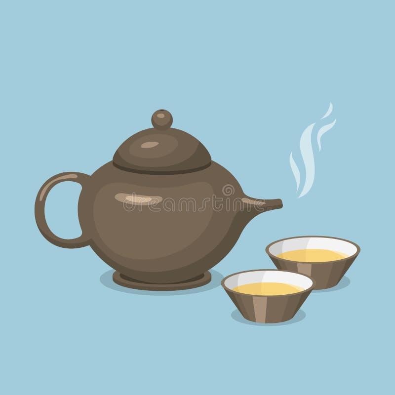 Kettle teapot drink hot breakfast kitchen utensil tea pot. With two cups vector illustration. Coffee kitchenware beverage modern teakettle stock illustration