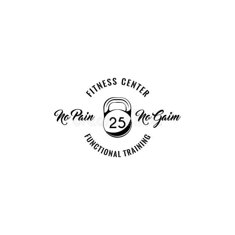 Kettlebell象 健身中心象征商标 没有痛苦没有获取文本 体育徽章 向量 皇族释放例证