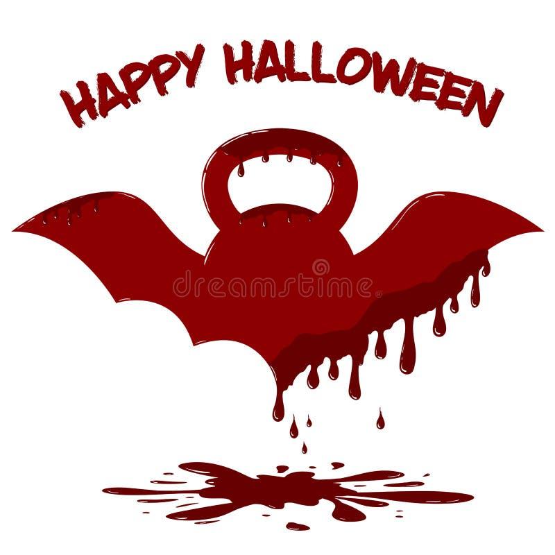 Kettlebell à ailes avec le sang d'égoutture Illustration de calibre de carte de Halloween image stock