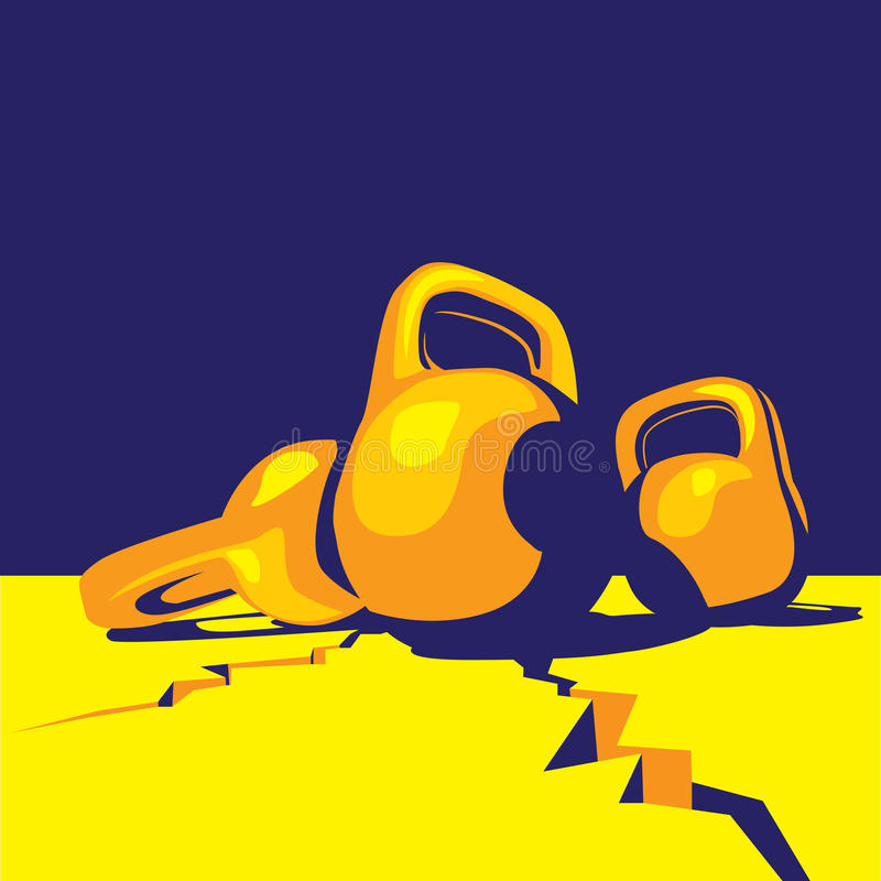 Kettlebell colorful. Stylized illustration on the theme of sports, weightlifting and abstract definition of a large mass and weight stock illustration