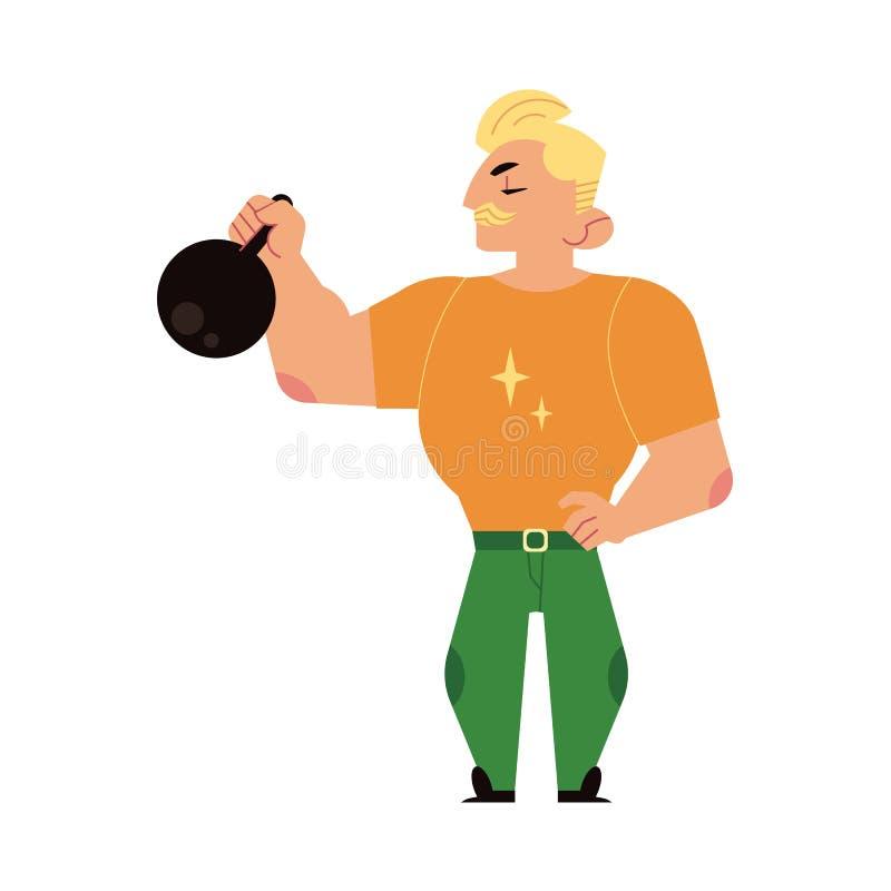 Kettlebell de elevación del weightlifter del dictador del atleta stock de ilustración