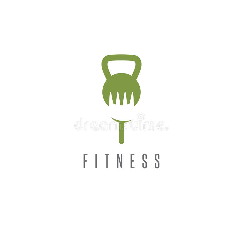 Kettlebell and fork healthy food vector design royalty free illustration