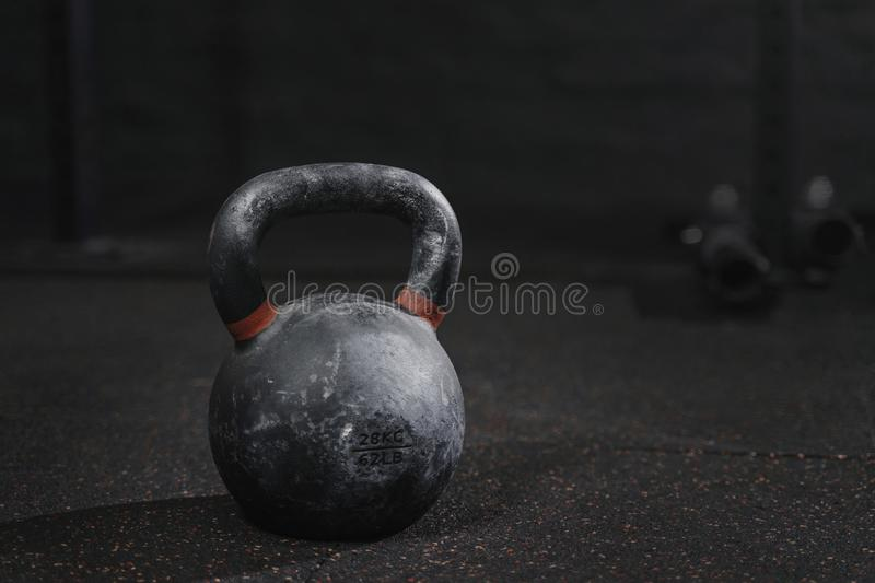 Kettlebell at the gym.Crossfit equipment. Copy space. Kettlebell at the gym. Crossfit equipment. Copy space royalty free stock photo