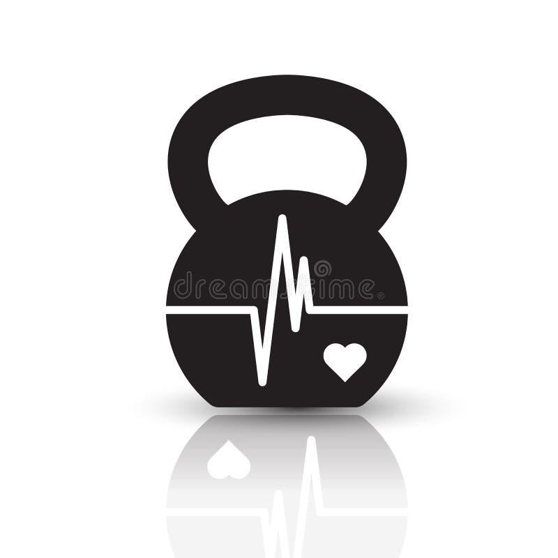 Kettlebell hjärtslagbegrepp arkivfoto