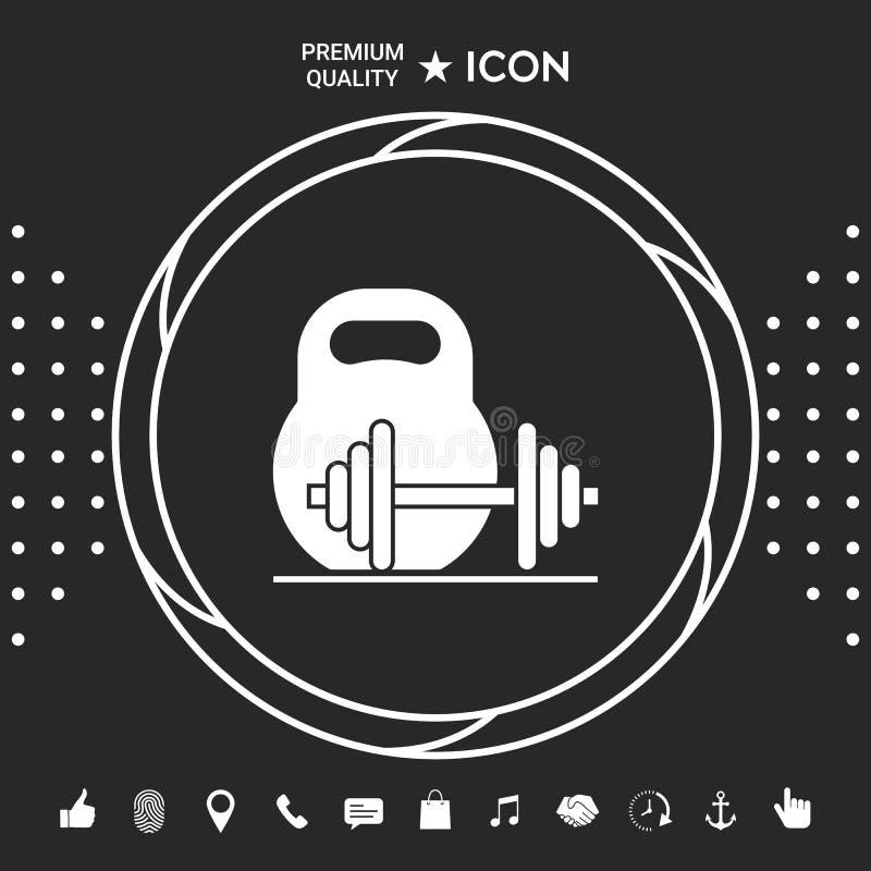 Kettlebell i barbell ikona Graficzni elementy dla twój designt ilustracja wektor