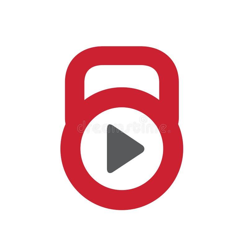 Kettlebell logo ikona, sprawności fizycznej Gym wideo, Czerwonego koloru wektoru ilustracja royalty ilustracja