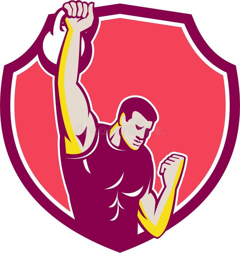 Kettlebell One-Arm High Pull Retro vector illustration