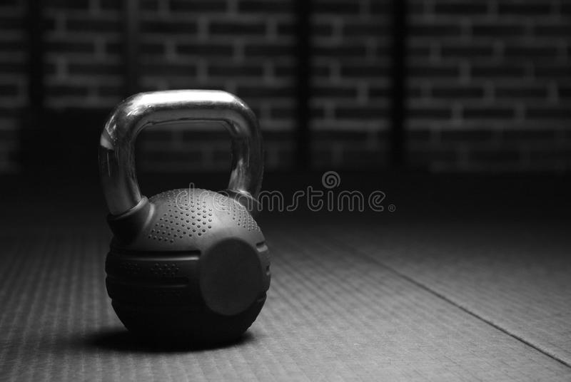 Download kettlebell weights in a workout gym in black and white stock photo image of