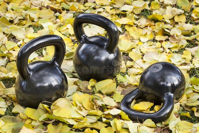 Kettlebells del hierro al aire libre foto de archivo