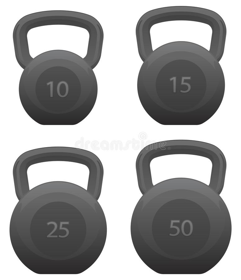 Free Kettlebells Set Isolated Vector Illustration Royalty Free Stock Photos - 144315508