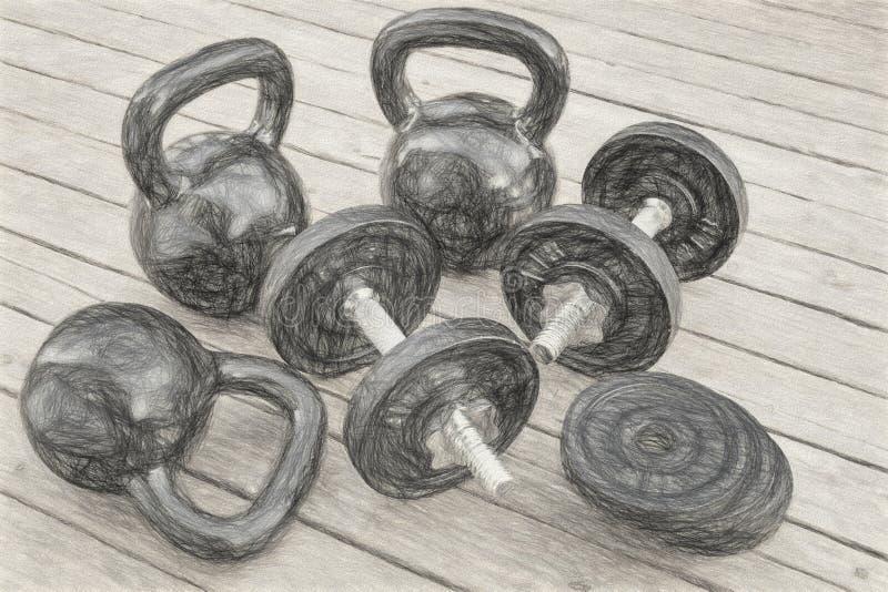 Kettlebells y pesas de gimnasia foto de archivo libre de regalías