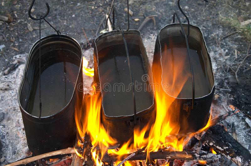 Download Kettles in fire stock image. Image of kettle, cook, burn - 2231469