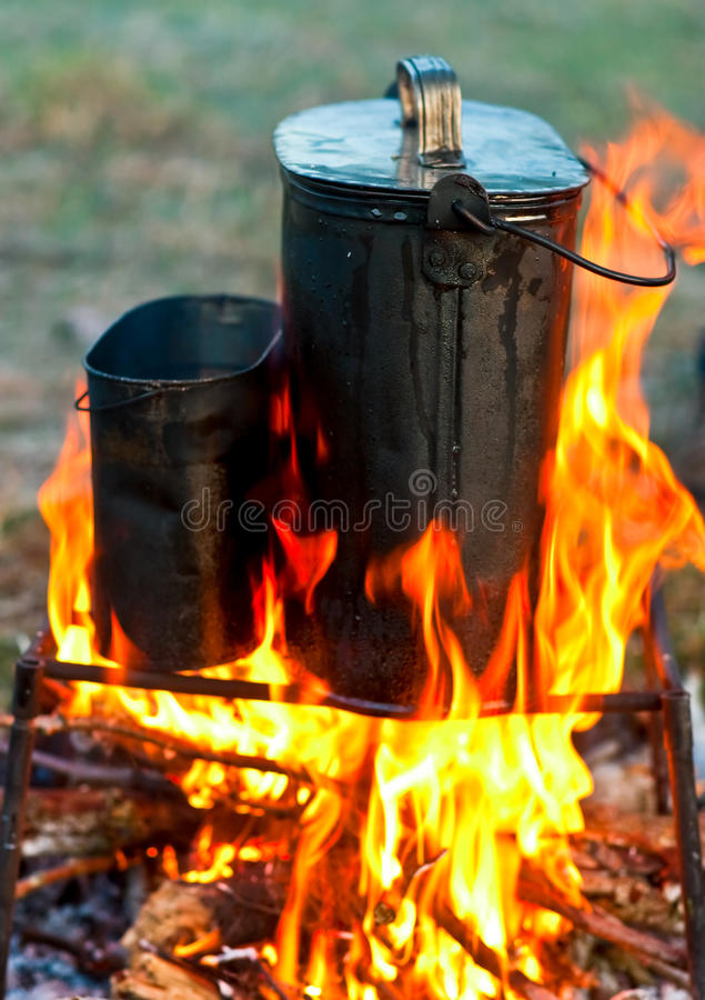 Kettles Over Campfire Royalty Free Stock Images