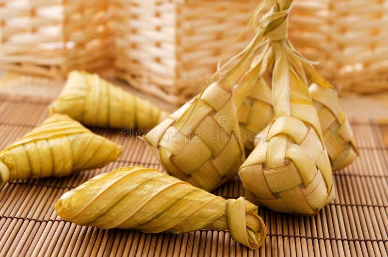 Ketupat或米饺子。 免版税图库摄影