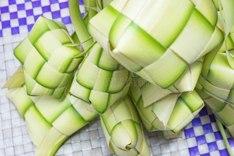 Ketupat或饺子米 米是做的自然框的厨师 免版税库存图片