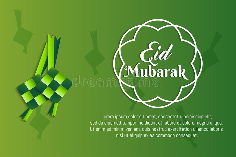 Ketupat eid Mubarak papieru rżnięta sztuka ilustracji