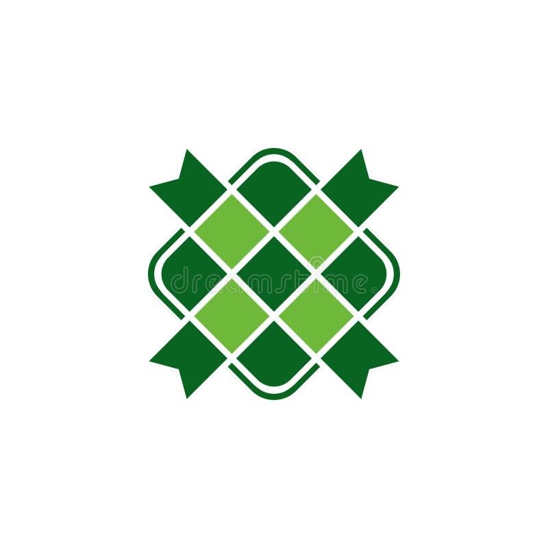 Ketupat ikony azjatykcia tradycyjna ryżowa karmowa wektorowa zieleń ilustracja wektor