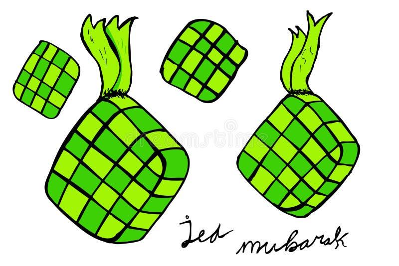 Ketupat indonesia traditionell mat stock illustrationer