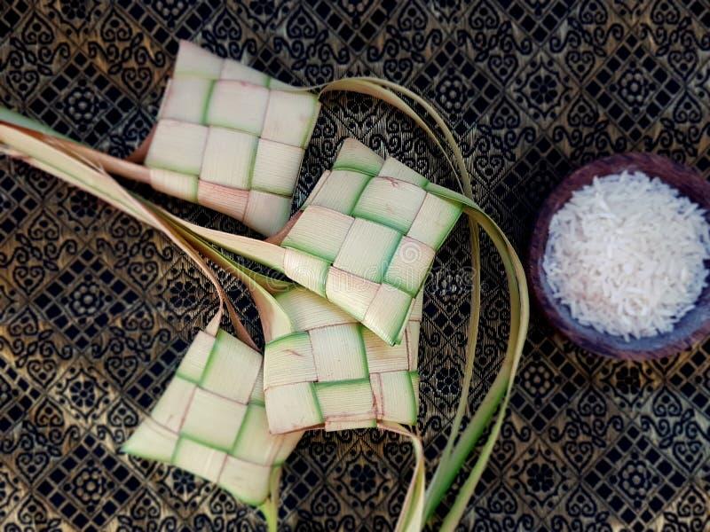Ketupat ryż i opakowanie fotografia stock