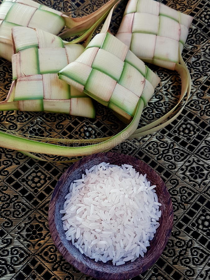 Ketupat ryż i opakowanie fotografia royalty free