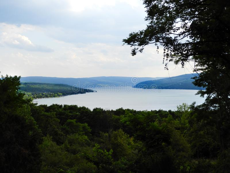 Keuka Lake view from the bluff FingerLakes NYS. Keuka Lake is the only lake in the country that flows both north and south. Because of the shallow waters, Keuka royalty free stock image