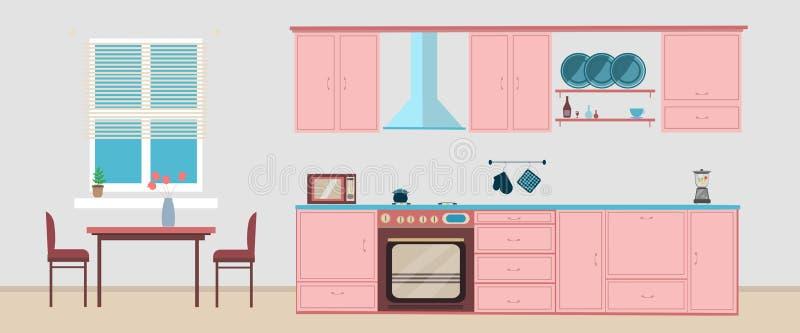 Keuken binnenlandse het dineren vlakke illustratie met microgolf stock afbeelding
