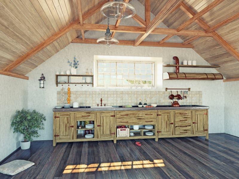 Keuken in de zolder stock illustratie