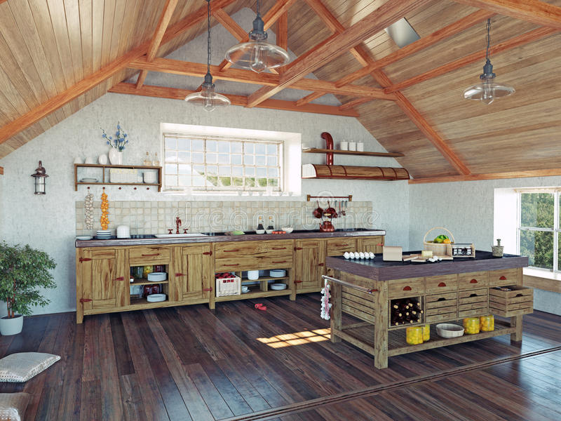 Keuken in de zolder vector illustratie