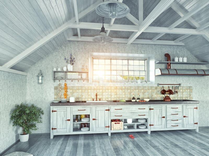Keuken in de zolder royalty-vrije illustratie