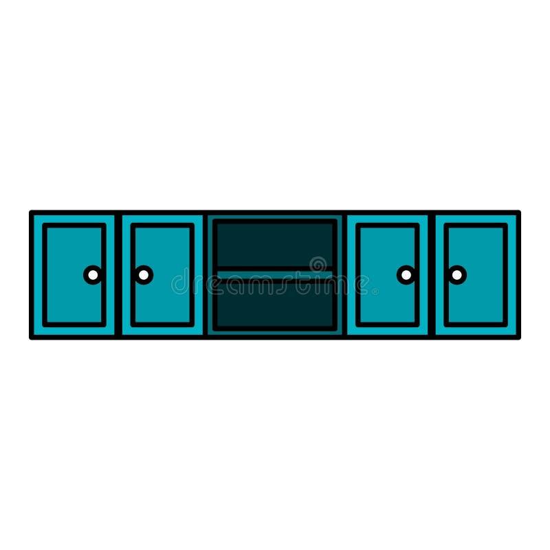 Keuken die houten pictogram opschorten stock illustratie