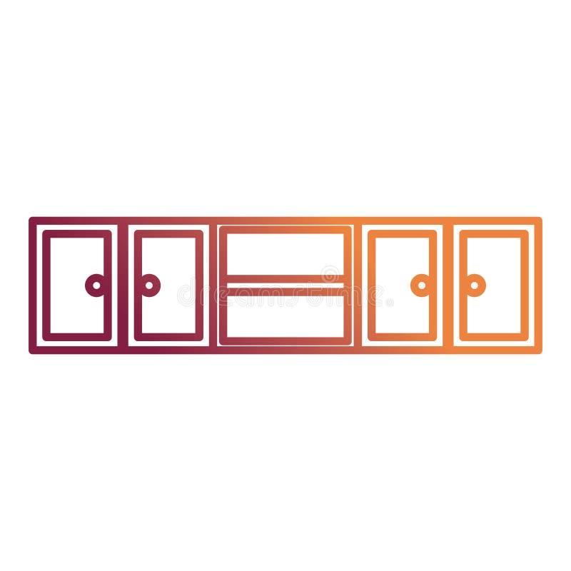 Keuken die houten pictogram opschorten royalty-vrije illustratie