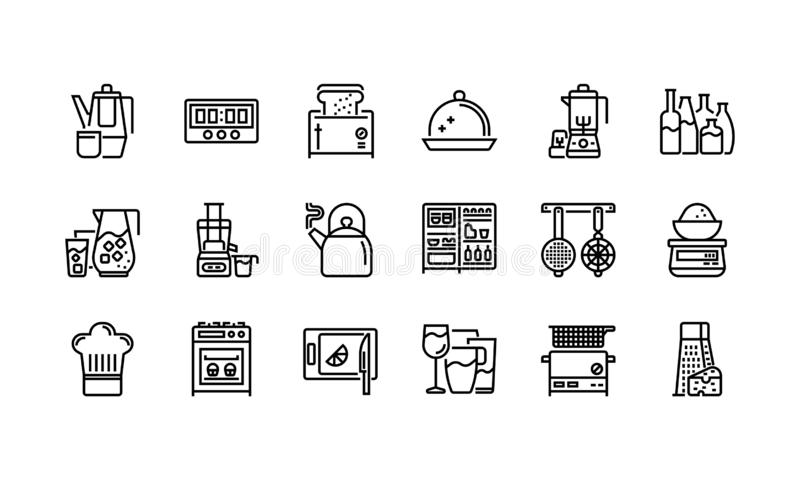Keuken en cookware pictogrammen royalty-vrije illustratie